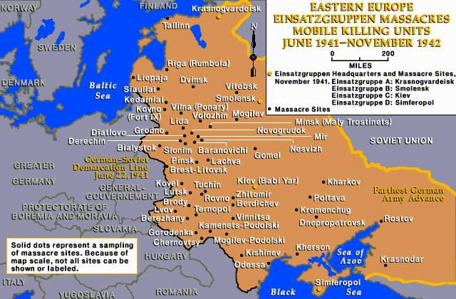 MAP OF EASTERN EUROPE EINSATZGRUPPEN MASSACRES - Map of eastern europe